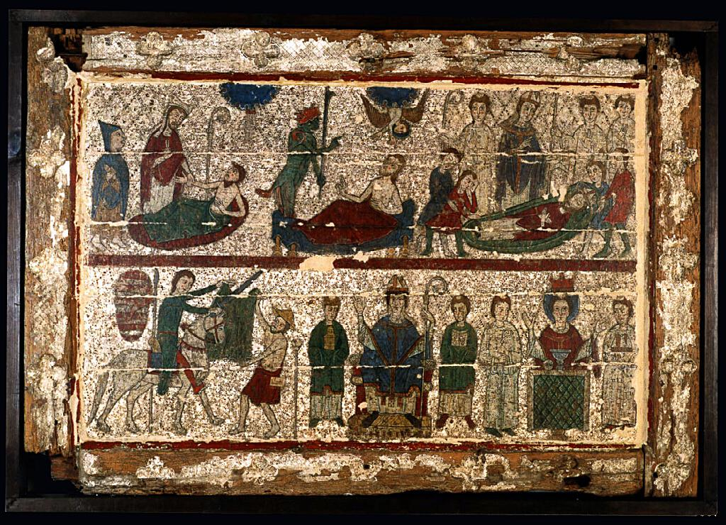 Frontal de altar con escena de la vida de San Martín. Escuela leridana (último cuarto del siglo XIII)