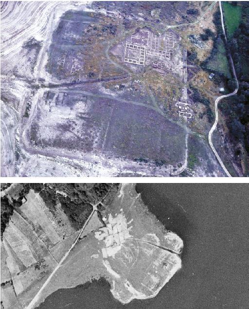 Exemplo de fotografía aérea e arqueoloxía: Campamento de Aquis Querquennis. Bande