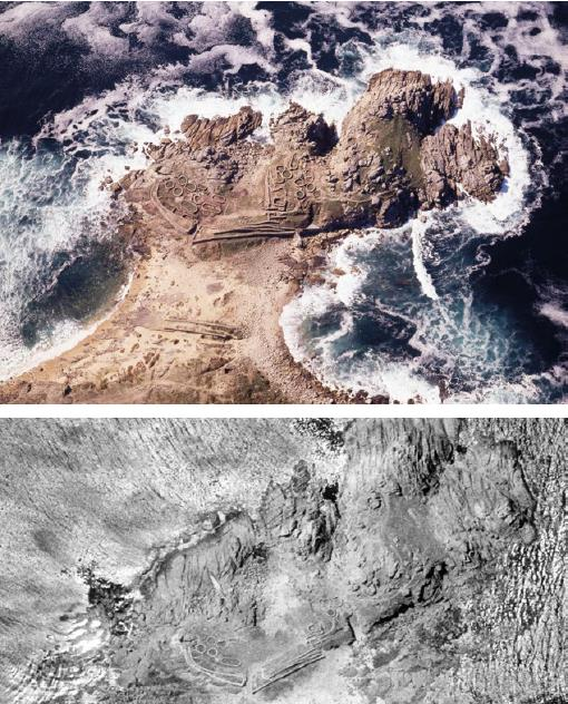 Exemplo de fotografía aérea e arqueoloxía: Castro de Baroña. Porto do Son