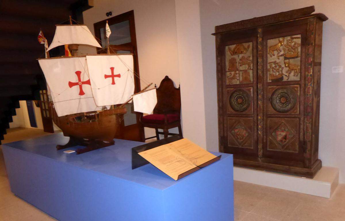 Maqueta da Carabela Pinta que arribou á Baiona en 1493 en logo do descubrimento de América