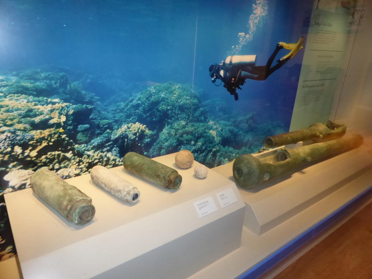 Culebrinas de Cabo Silleiro del siglo XVII. Pequeños cañones de bronce que debieron pertenecer a un pecio